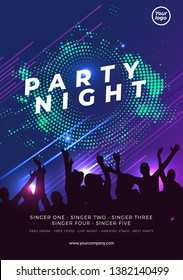 Night dance party music night poster template. Electro style concert disco club party event flyer invitation. - Vector