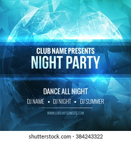Night Dance Party Poster Background Template. Vector club music flyer mockup.