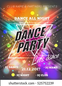 Night Dance Party Poster Background Template. Festival Vector mockup. DJ poster design. DJ background. Vector illustration.