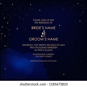 Night dark blue sky with sparkling stars vector wedding invitation. Gold glitter powder splash background. Golden scattered dust. Midnight milky way. Fairytale magic card.
