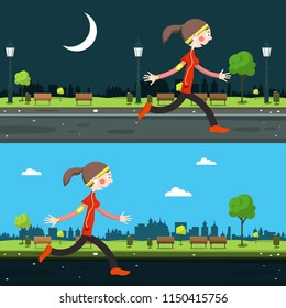 Night and Day Run in City. Running Woman Vector Illustration.
