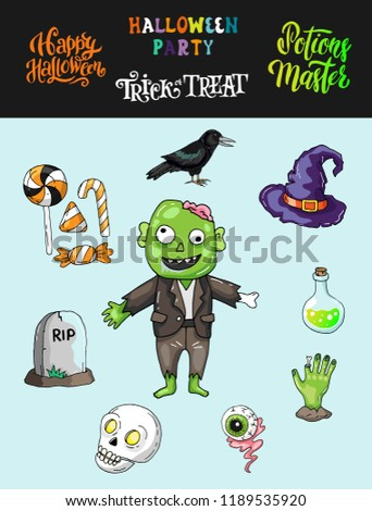Night Of Dead Walk Halloween Theme Set Of Characters And Icons With Zombie Eye