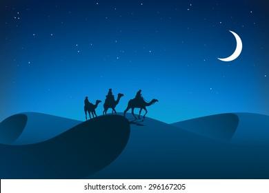 Night in desert. Caravan.