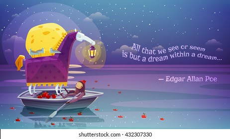 Night dream surreal horse with lantern in boat with yellow moon and poetry verse background abstract vector illustration