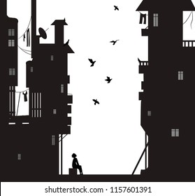 night dreamer, boy sits near the  city houses and look flying pigeons, dreams vector