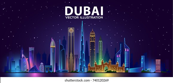 Night Dubai skyline.Vector illustration