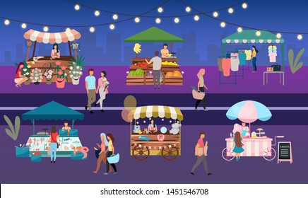 Night fair flat vector illustration. Outdoor street market stalls, summer trade tents with sellers and buyers. Flowers, farmers food and products, clothes city kiosks. People walk local urban shops