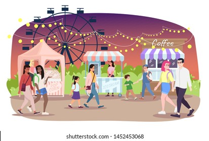 Night fair flat vector illustration. People walk street market cartoon characters. Festival, funfair, city event, amusement park food stalls. Popcorn, ice cream, coffee kiosks on fairground