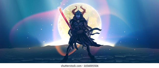 Night fantasy landscape with warrior, japanese samurai silhouette over moon, fantasy fighter with fire sword in dark armor. Asian ninja, dangerous Ronin. Martial arts symbol. Vector illustration.