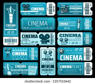 Night film festival or movie premiere tickets. Vector cinema tickets with 3D glasses, video camera and vintage movie projector symbols, actor star award, popcorn, barcode and theater blue seats