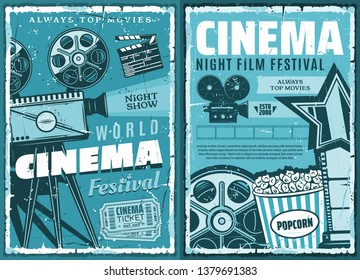 Night film festival or movie premiere retro grunge posters. vector cinematography cinema show, 3D glasses, video camera and vintage movie projector with actor award and popcorn