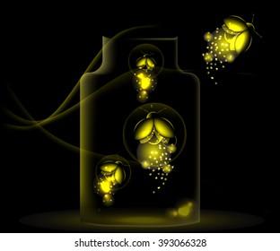 night fireflies sitting in a glass jar on a dark background