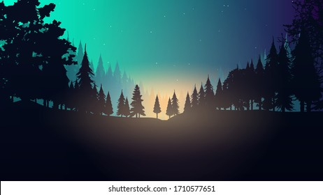 Night in the forest. Abstract illustration of a forest. Vector.