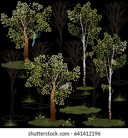 At night in the forest. Birch and alder trees, birds and graphic elements. Vector 10.