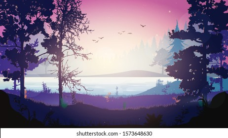Night Forest Vector. Forest landscape with a river at night. Night in the forest. Dawn in the forest. The sky with the stars. Beautiful dawn illustration for ad banner or background.