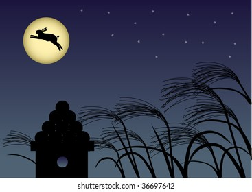 A night with a full moon & rabbit  Illustration