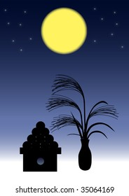 A night with a full moon vector Illustration