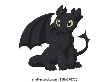 Night fury toothless dragon isolated in white background. illustration cartoon art.how to train your dragon. illustration