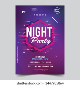 Night glitch dance disco party music night poster template.