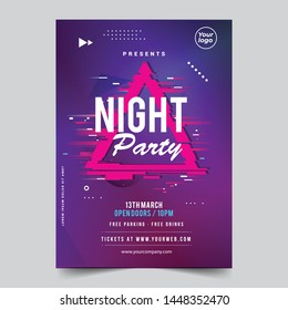 Night glitch dance disco party music night poster template. Vector