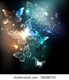 Night glowing butterflies on luminous abstract background.
