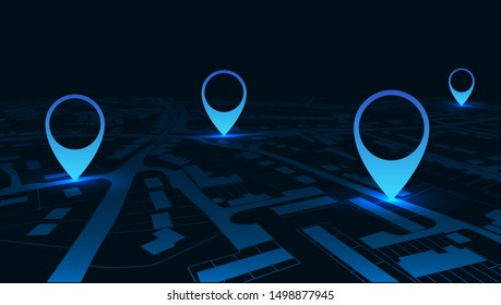 Night GPS navigator location on city map, from place to place – stock vector