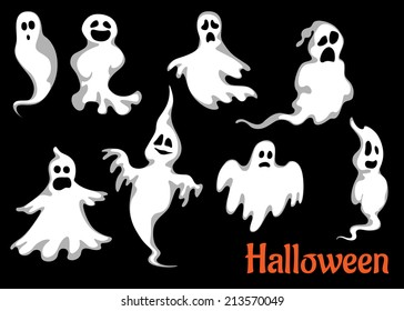 Night halloween ghosts set isolated on black background for fear and scary holiday design
