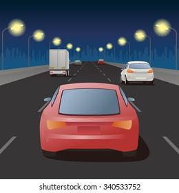 night highway, street lights and vehicles, vector illustration