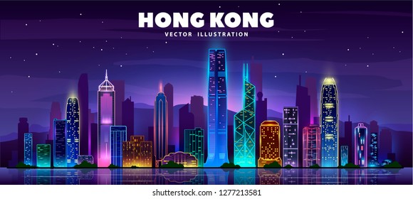 Night Hong Kong skyline. Night citi and famous buildings. Vector illustration.