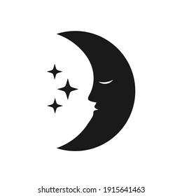 night icon with moon and star illustration