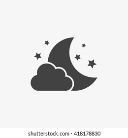 Night Icon in trendy flat style isolated on grey background. Nighttime symbol for your web site design, logo, app, UI. Vector illustration, EPS10.
