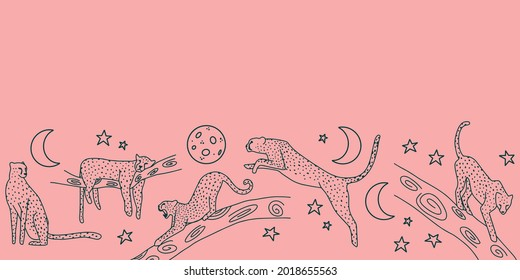 Night jungle repeat border in pink background with seamless cheetah and moon illustrations in dark blue. Vector illustration print. Great for women, kids and home decor. Surface pattern design.