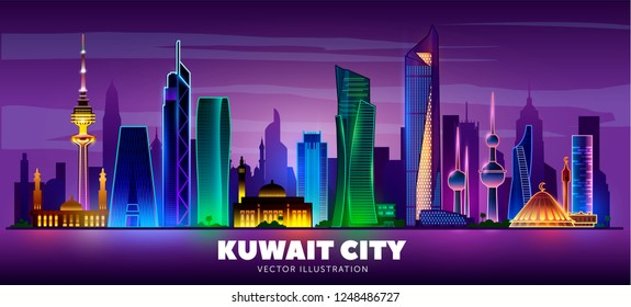 Night  Kuwait city skyline on a dark background. Flat vector illustration. Business travel and tourism concept with modern buildings. Image for banner or web site.