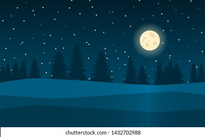Night landscape in the background of the forest, the moon and the stars
