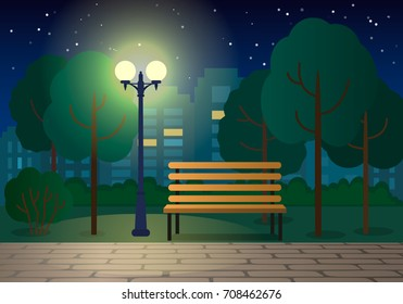 Night landscape with a bench in a city park. flat vector illustration