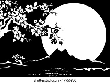 Night landscape with a blossoming Oriental cherry