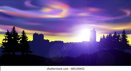 Night landscape of city and pine forest. Colorful northern lights.