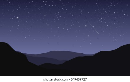 Night landscape with dark silhouettes of mountains and sky with stars - vector illustration