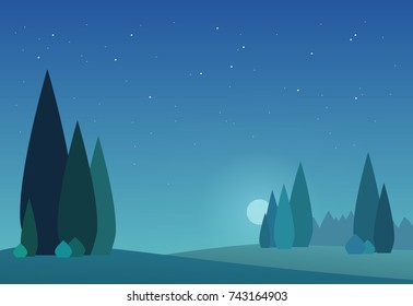 Night landscape with forest