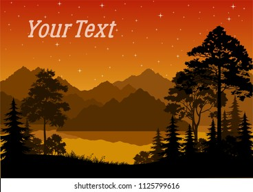 Night Landscape, Forest, Coniferous and Deciduous Trees Silhouettes, lake or river, Mountains, Orange Sky with Stars. Vector