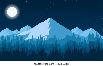 night landscape of the forest and mountains