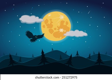 A Night Landscape with a Full Moon and a Starry Sky
