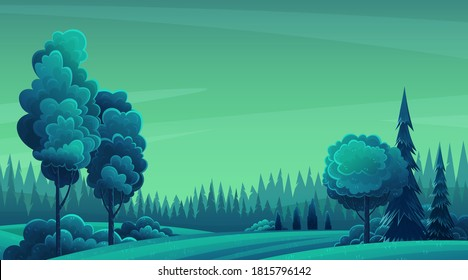 Night landscape with hills, dark forest, fir-trees, trees, view at night scenery with clear sky, summer fields with bushes and plants, nobody, ecological, non-urban, scene of countryside, wild