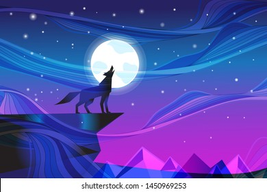 Night landscape with the moon and a howling wolf against the starry sky. Design template for poster or book cover.