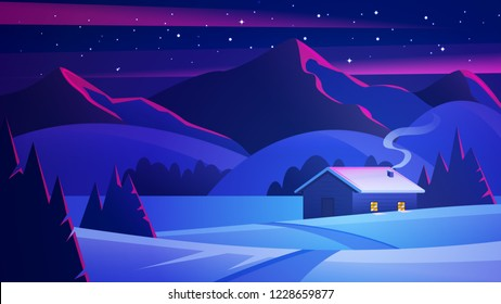 Night landscape with mountains and a lonely hut. Christmas eve Landscape. House in winter forest. Vector of winter landscape.