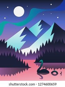Night landscape with mountains and Nessie (Loch Ness Monster). Scottish mystery landscape. Vector background illustration