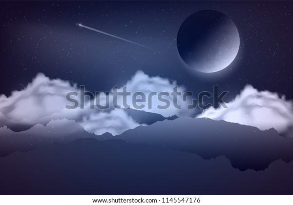 Night Landscape Rock Cloudsmoon Magic Space Stock Vector