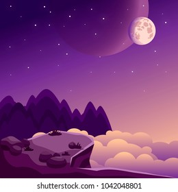 Night landscape with rock,clouds, forest, stars, moon and planet