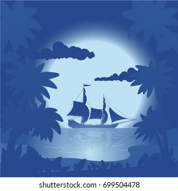 Night landscape of the sea in the tropics. Vector illustration, a flat style design.