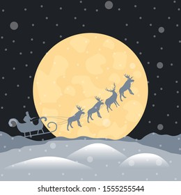 Night landscape with silhouette of flying sleigh, Santa Claus, reindeer. Scenery of snowy forest in winter season with full moon and snowfall. Concept of approaching holidays New Year and Christmas.